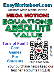 Mega Motion: Equations- Absolute Value. Grades: Pre-Algebra, Algebra I,  Algebra II