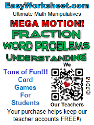 Mega Motion: Fraction Word Problems -- Understanding what a fraction means.  Grades: 3-7